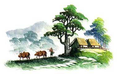 A Village Scene In A Morning Rural Myanmar Painting Village Scene Drawing Modern Landscape Painting Art Village I used staedtler ( noris club).watercolour pencil in this drawing. a village scene in a morning rural