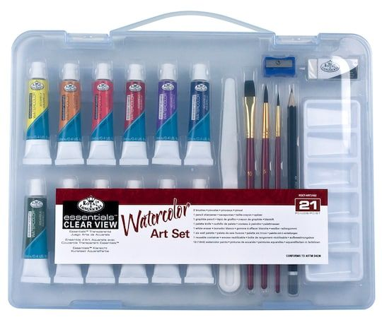Royal Small Clear Case Watercolor Painting Set 3 Packroyal