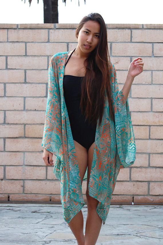 Polynesian Tribal Oversized Beach Kimono | My Style ...