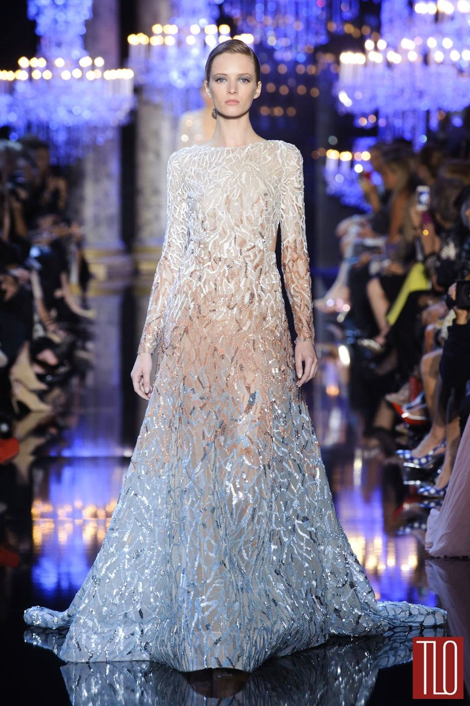 The shading from white to the icy blue is lovely elie saab fall
