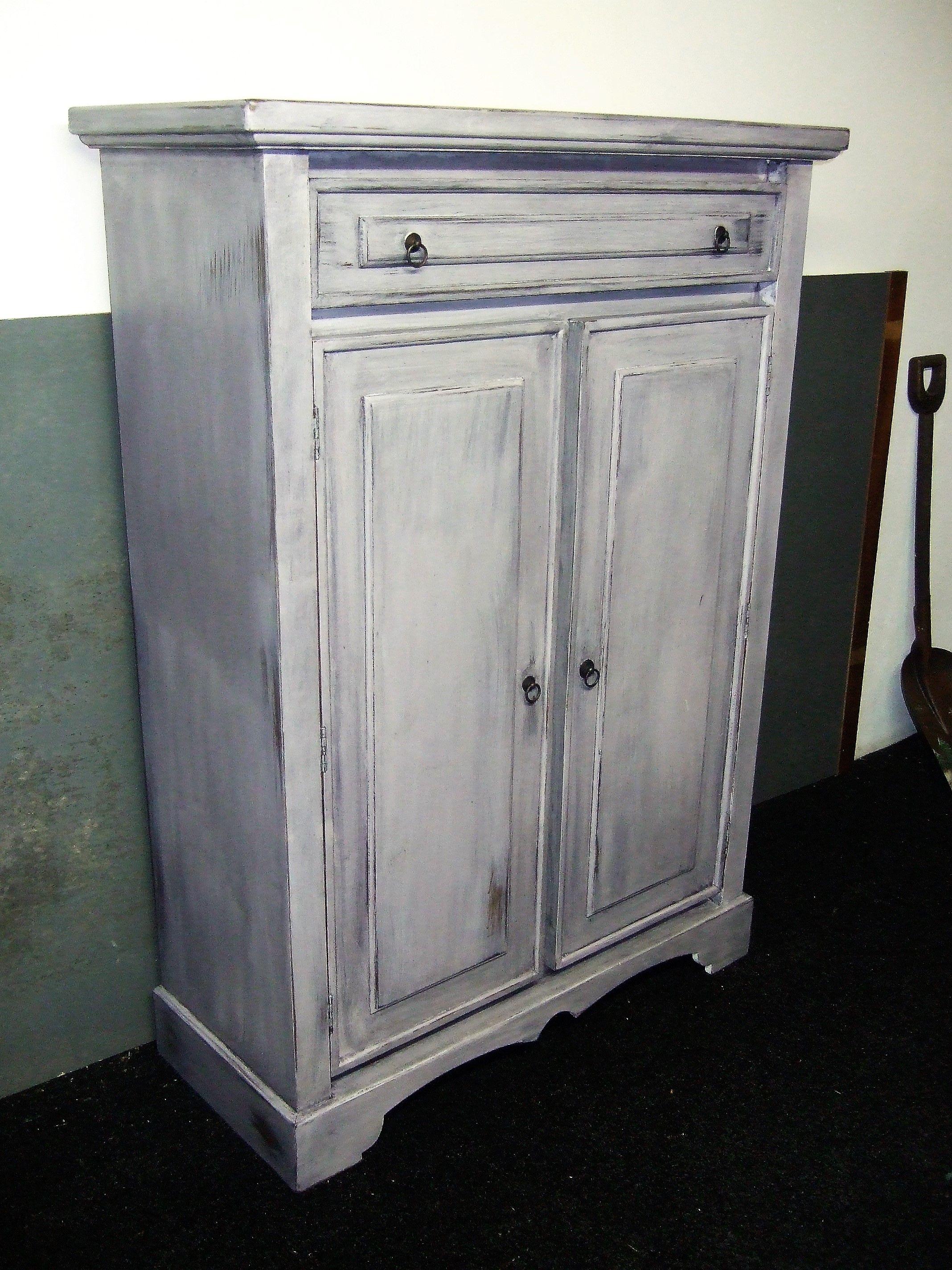 Ongekend Mooie blauw geschilderde meidenkast shabby chic Oude grenen kast CE-96