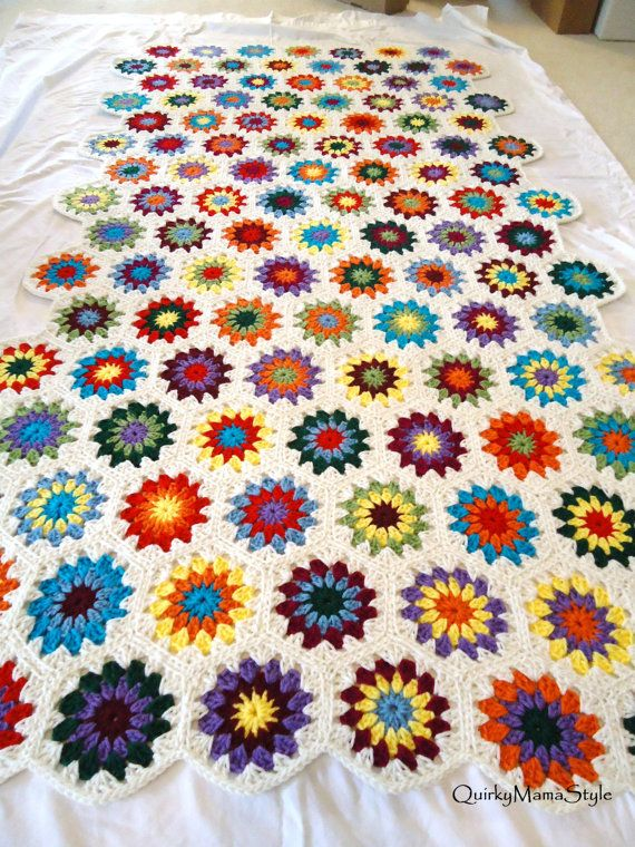 Retro Style for New Crocheted Granny Square Hexagon Afghan Throw ...