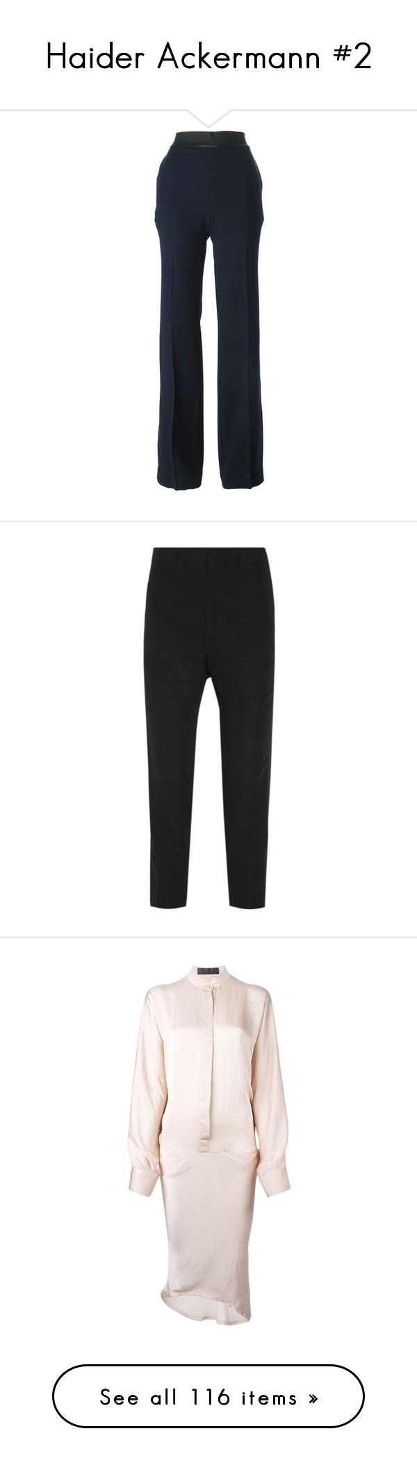 """""""Haider Ackermann #2"""" by bliznec-anna ❤ liked on Polyvore featuring pants, blue, wide leg trousers, blue wide leg pants, wide leg pants, blue pants, haider ackermann, black, black pants and black twill pants"""
