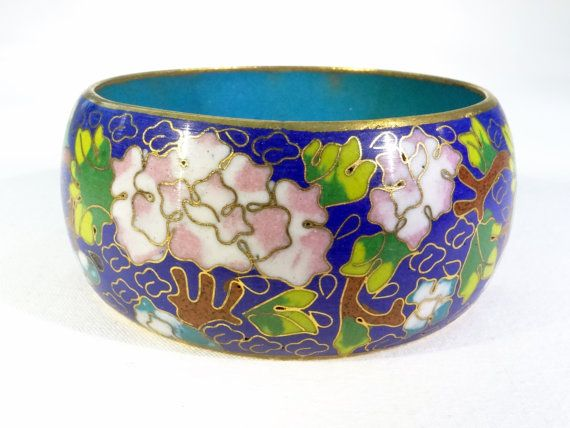 Blue with Green leaves Gold Trim and Aqua Floral Navy Blue with Pink Flowers Cloisonne Bangle Bracelet Vintage Asian Inspired Jewelry
