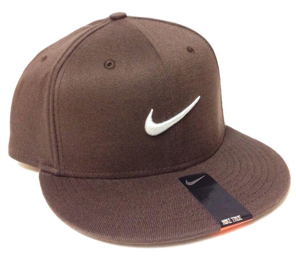 super cute b3db8 f20ce New 24 NIKE TRUE SWOOSH HAT Brown Gray Flat-Bill FLEX FIT S M  (7,1 8,1 4,3 8)  Nike  BaseballCap