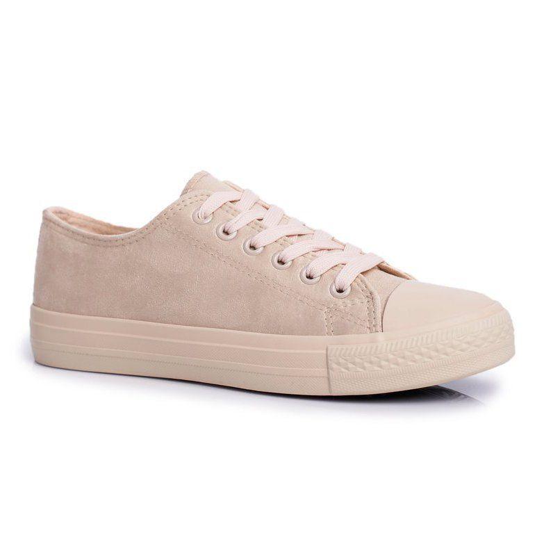 Bugo Damskie Trampki Zamszowe Bezowe El Paso Bezowy Sneakers Shoes Fashion
