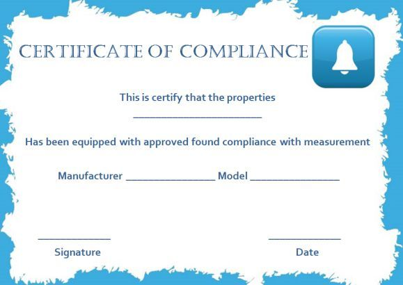 Smoke Alarm Certificate Of Compliance Template  Certificate Of