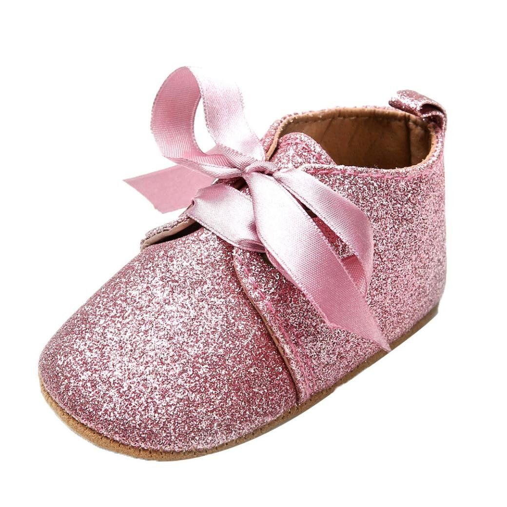 52ac43dbf612c3 Dacawin Newborn Baby Girl Boys Sequins Bling Leather Shoes Leopard Up Slip  Lace Bow Tie Sneaker 69 Month Pink -- For more information