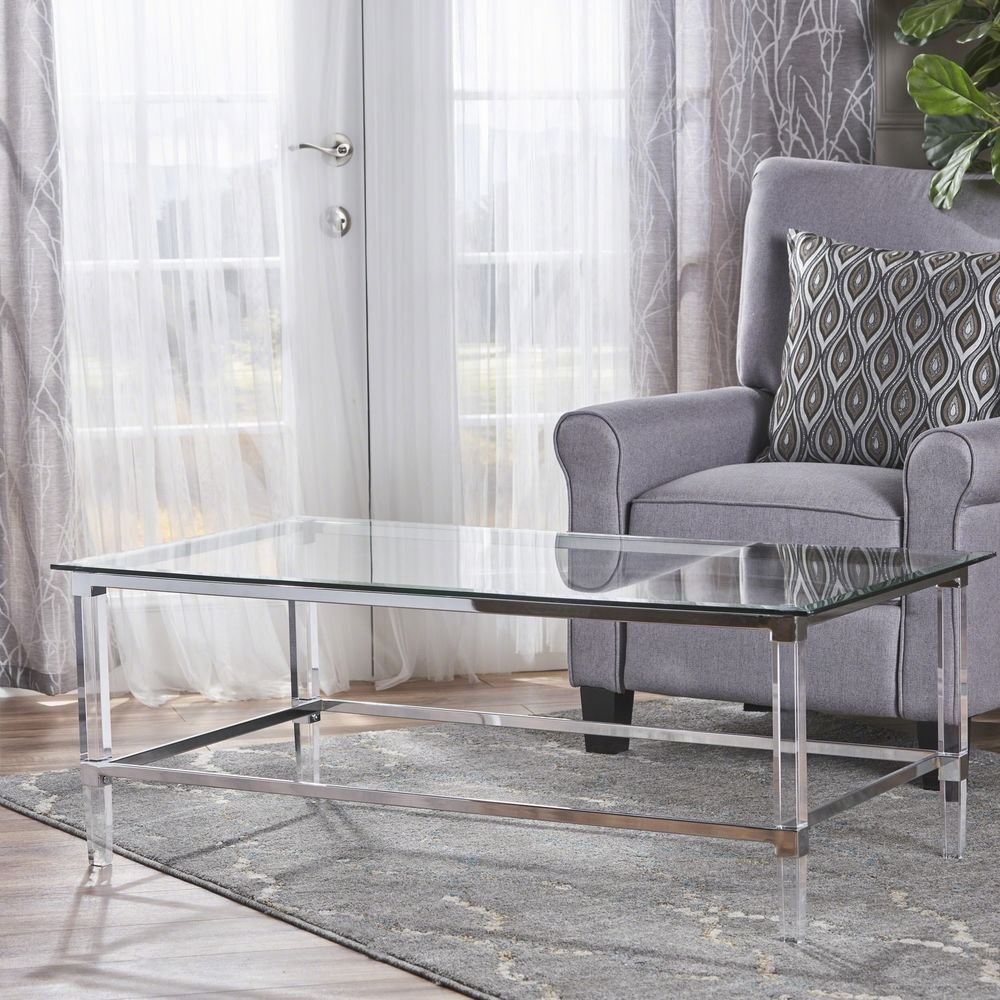 glass waterfall coffee table square