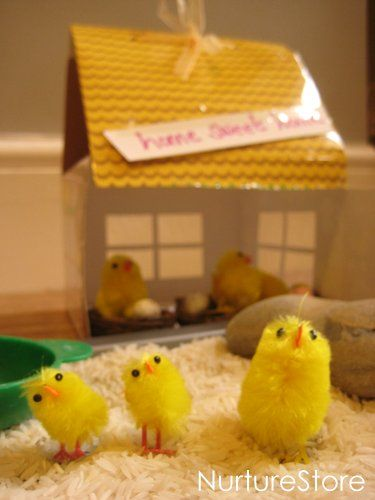 Lovely imaginary play play for easter/ spring : a sweet little chicken farm. Love the ideas for adding math games, reading & writing too