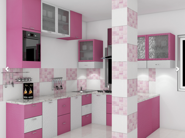 Cuisine rose et blanche avec des carreaux... Idées de déco ...
