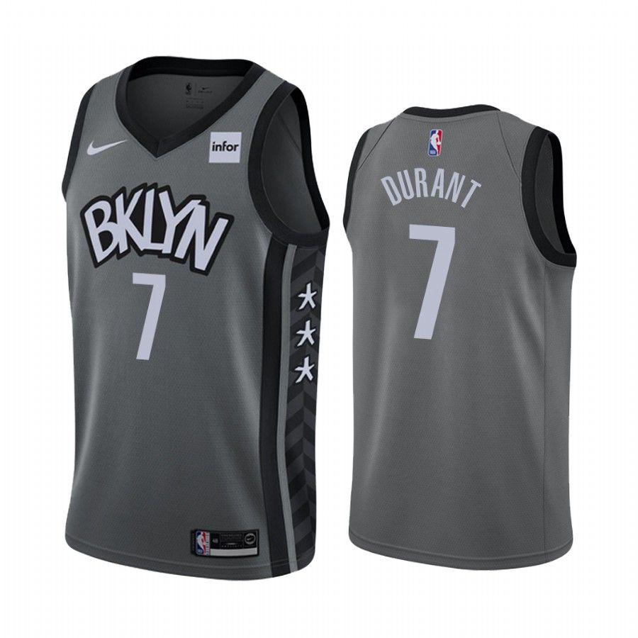 Men S Brooklyn Nets Kevin Durant Gray 2019 20 Statement Jersey In 2020 Kyrie Irving Brooklyn Nets Kevin Durant