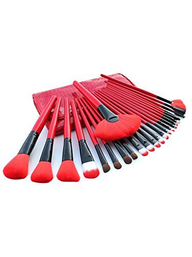 DEAMOR Professional Makeup Brush Cosmetic Brushes Set Kit Synthetic Bristles with Wooden Handle 24 Pcs Red >>> Click on the image for additional details.