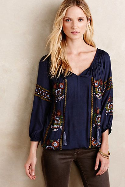 Bravura Peasant Blouse #anthropologie
