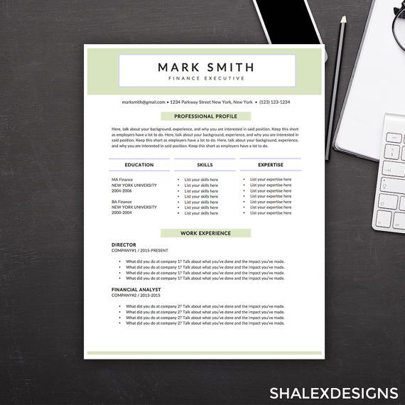 Executive Resume Template  Microsoft Word Doc Instant Download