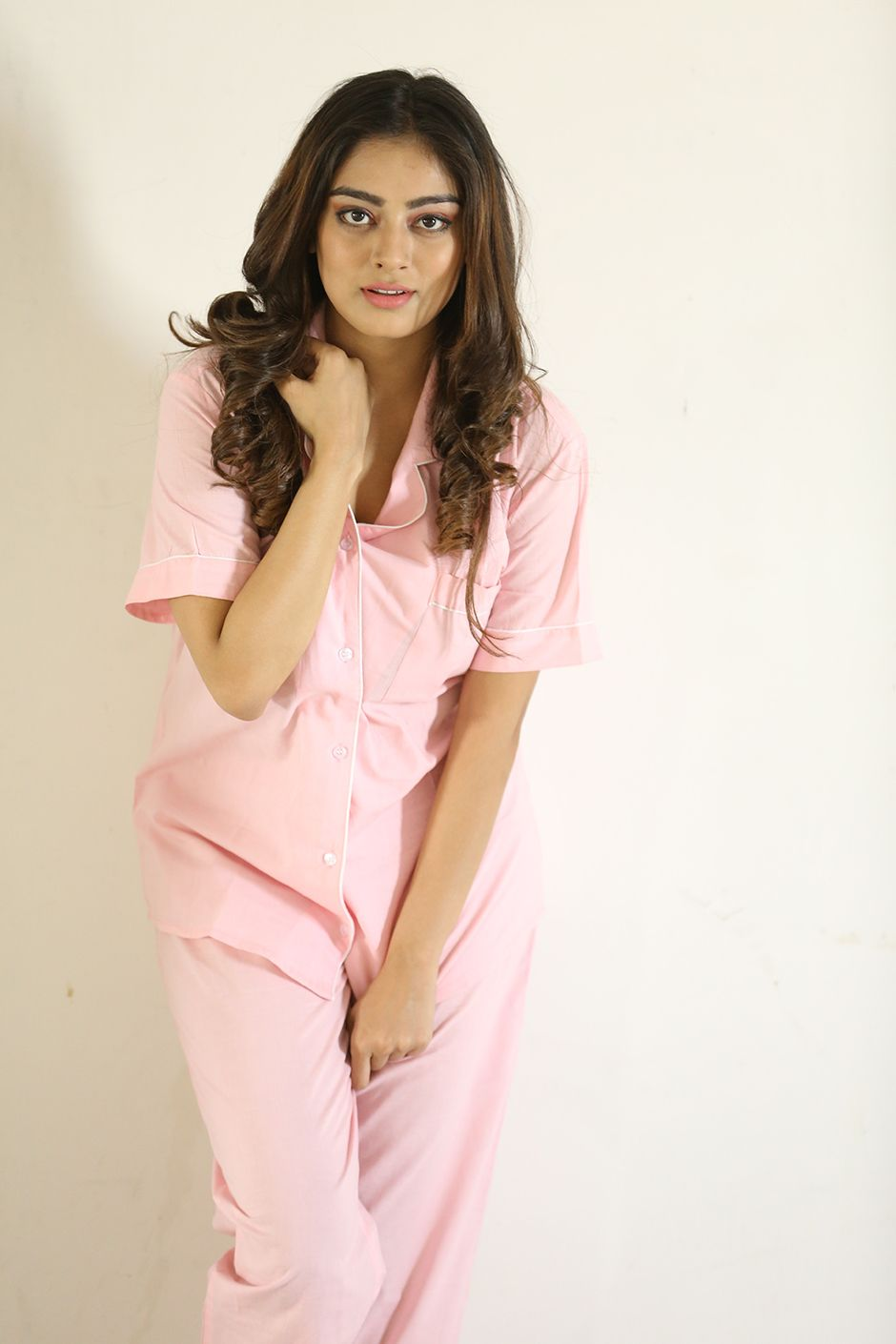 806051fe03 Cotton night suit . Pyjama comes with side pockets and back elasticated.