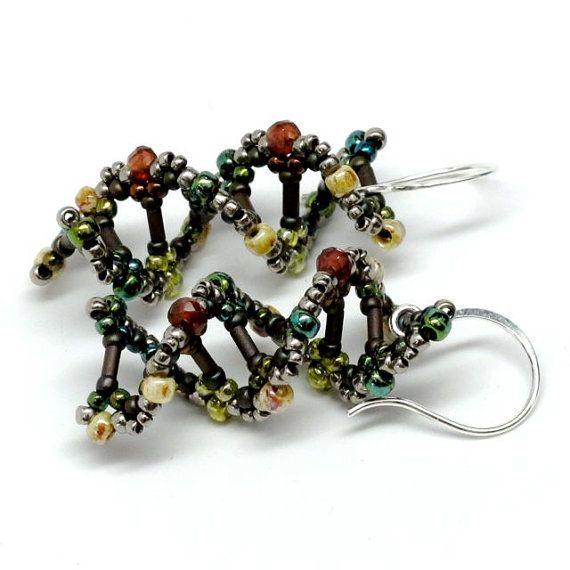 DNA Beaded Earrings in Earthy Ruby with Sterling Silver ...