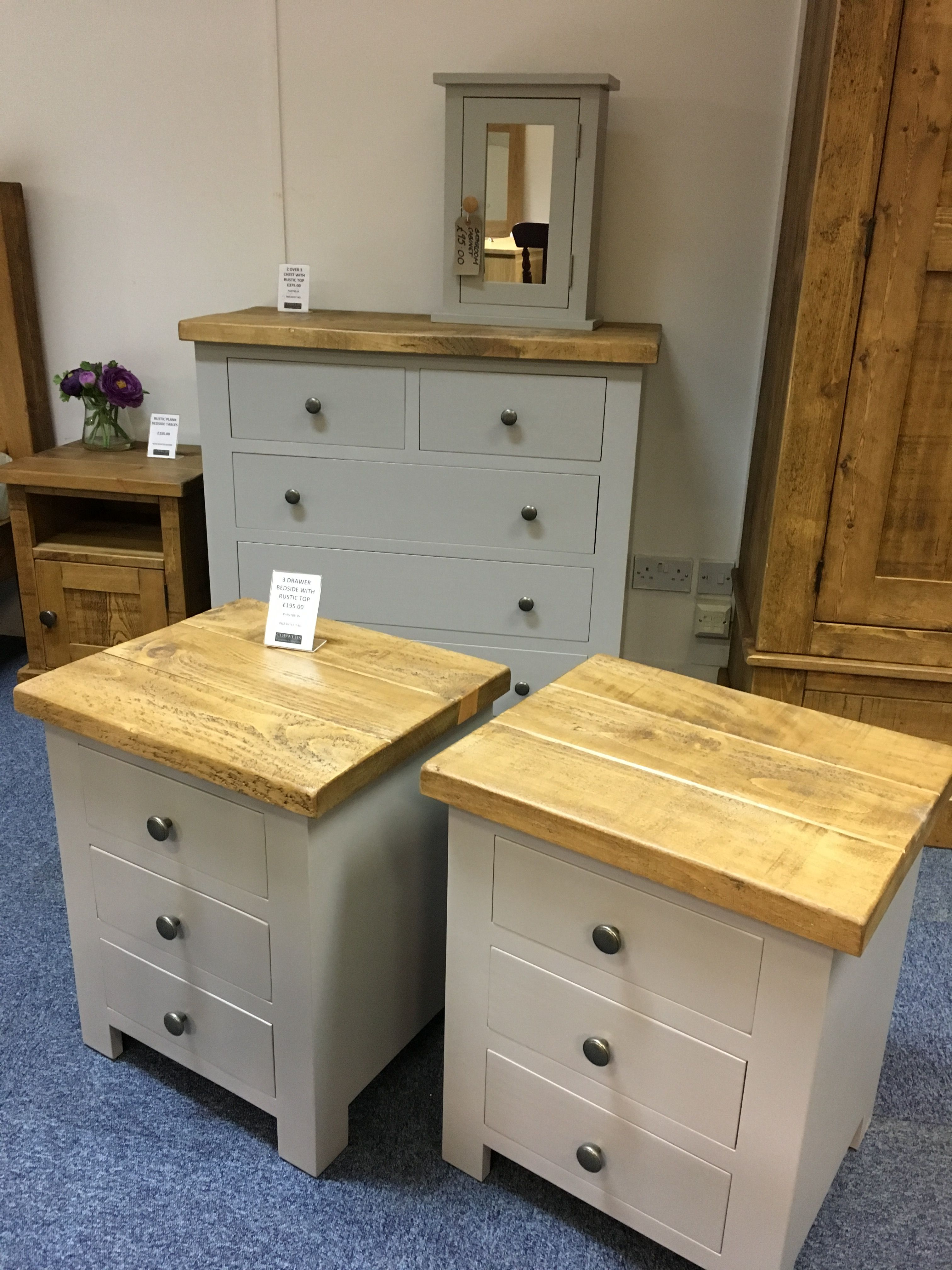 Bedroom Furniture Painted In F B Dove Tail With Rustic Plank Tops Can Be Any Size Or Colour Www Cobwebs Painted Bedroom Furniture Bedroom Furniture Furniture