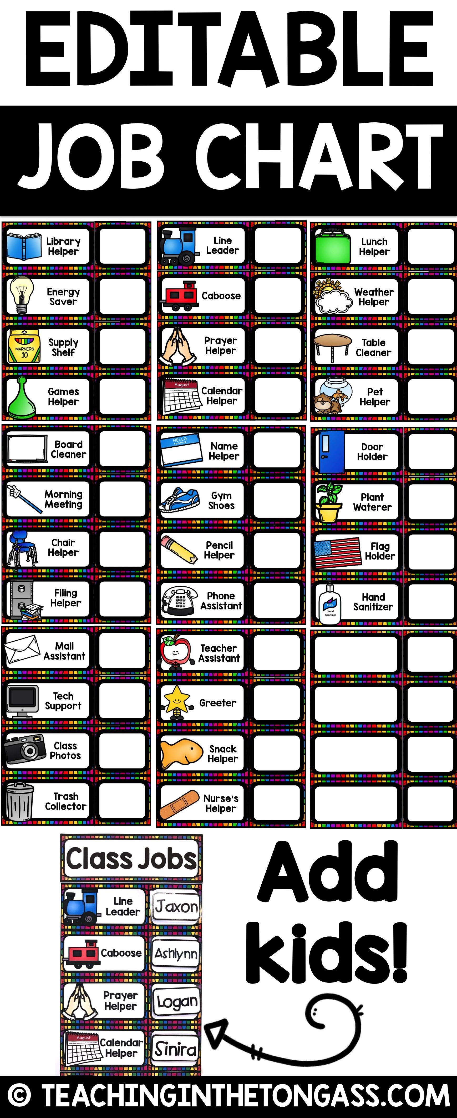 Use in  pocket chart on your whiteboard or make it magnetic included this editable powerpoint file you will find blank job also classroom jobs class school is cool rh pinterest