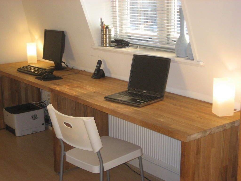 Big Oak Desk From Kitchen Worktops Oak Desk Home Desk