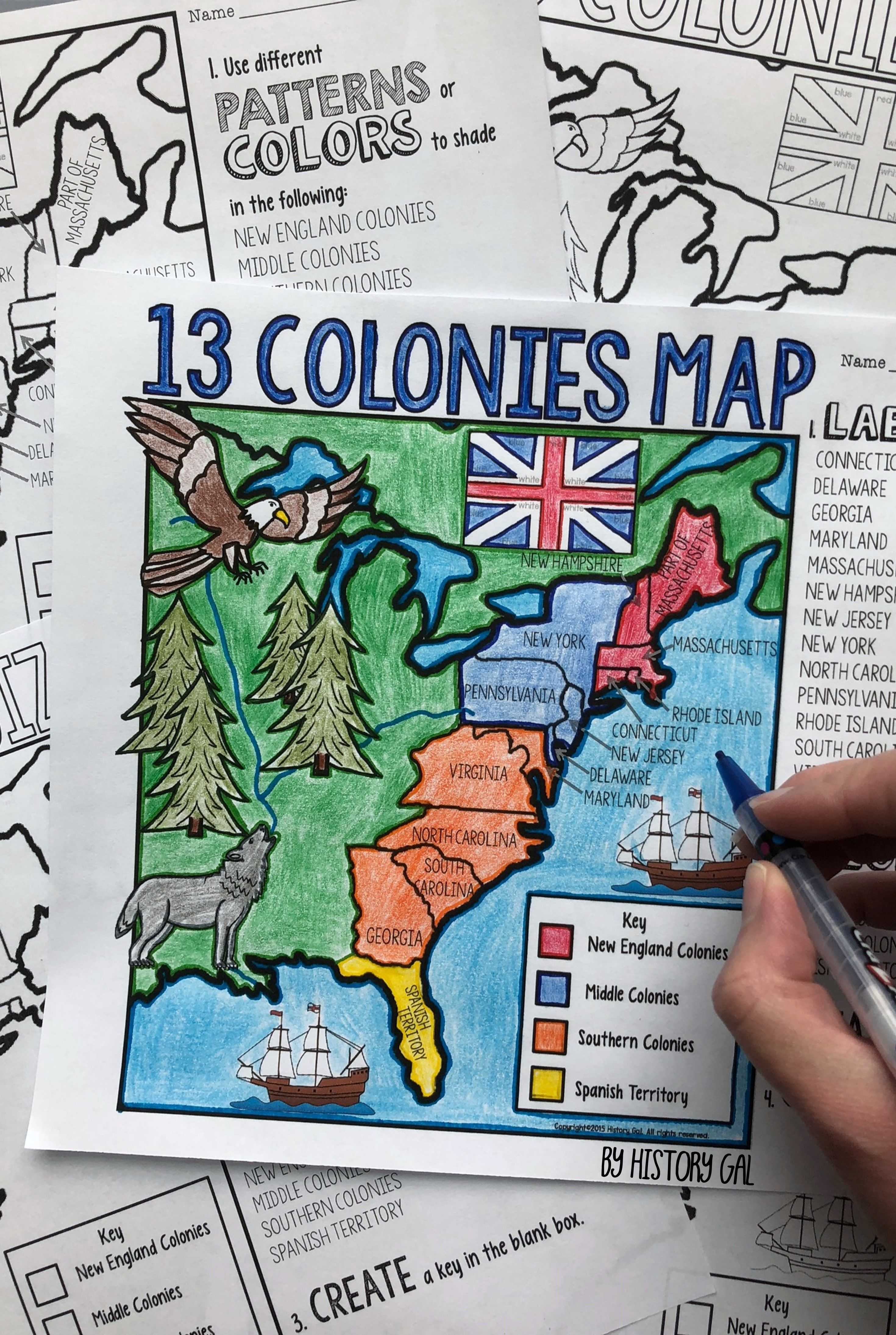 small resolution of 13 Colonies Map and Quiz (Print and Digital)   4th grade social studies