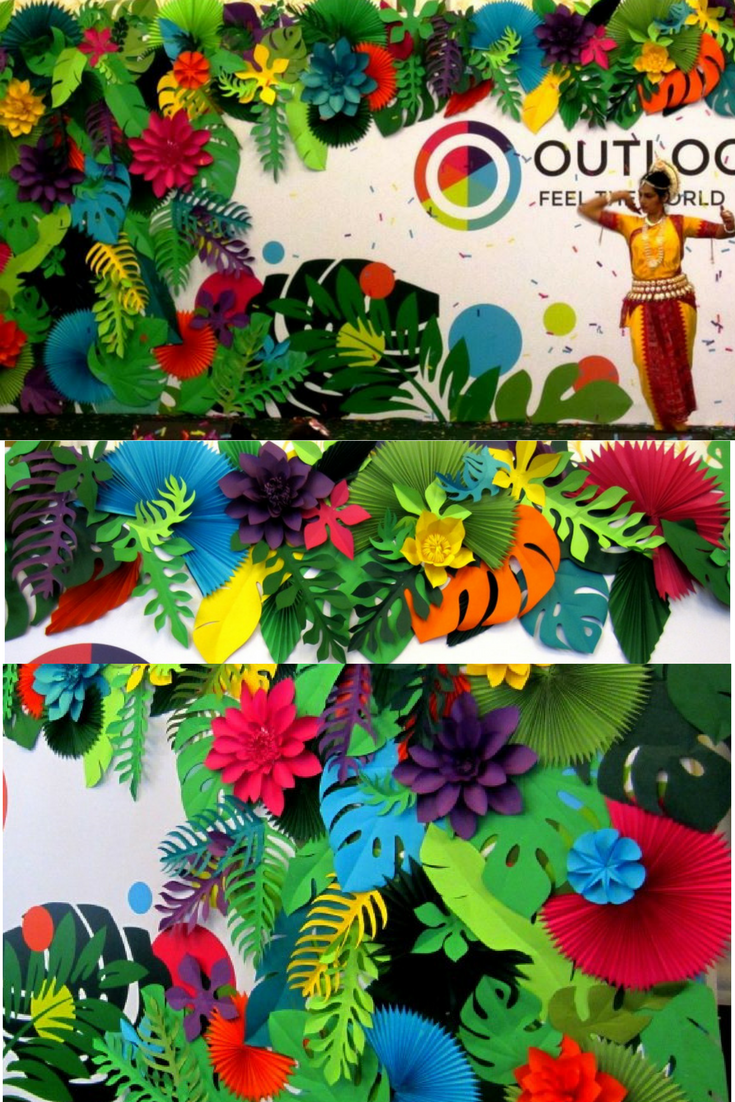 Hawaiian Party Paper Leaves And Flowers Backdrop Paper Flowers