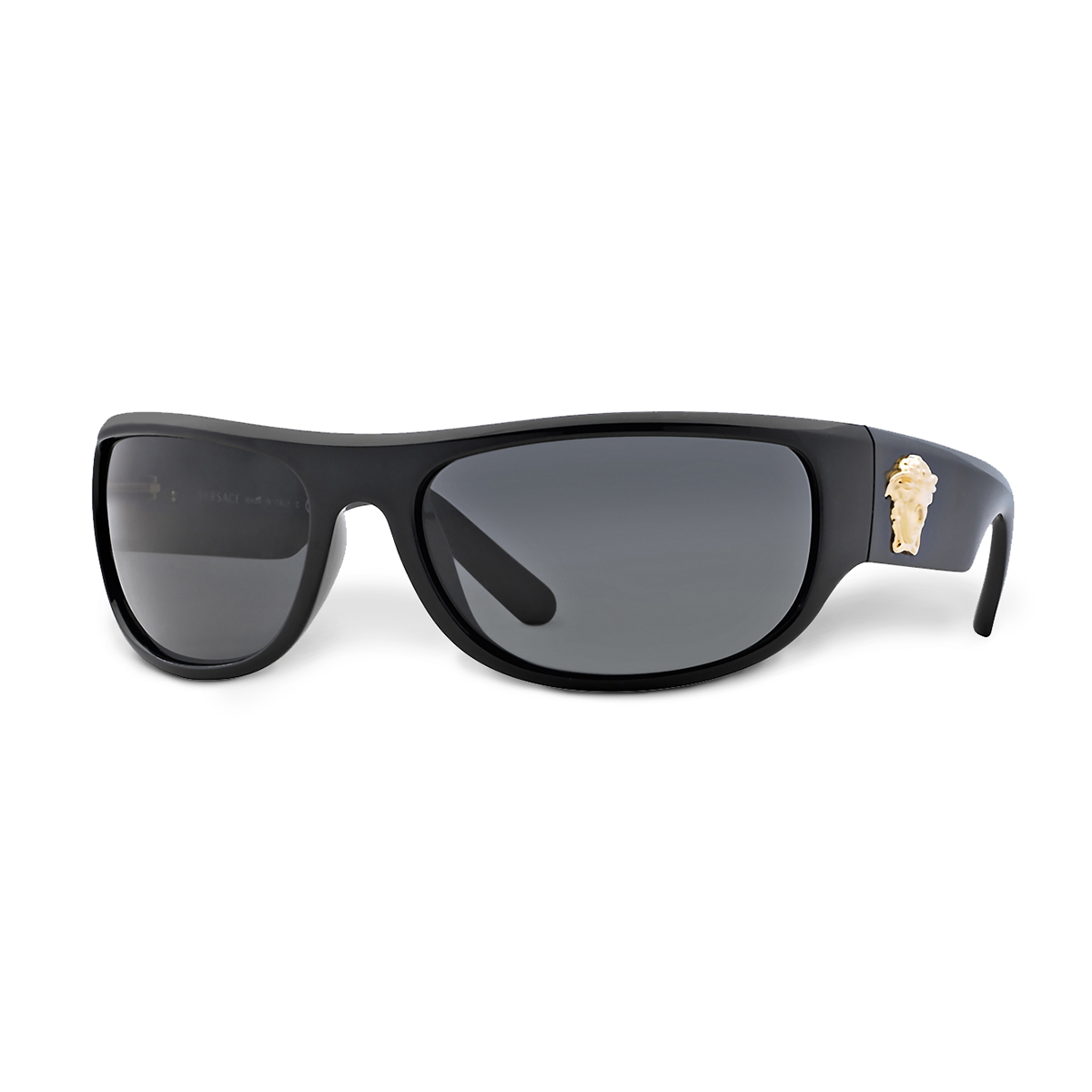 e05c45af1d4 Transgressive iconic appeal - black wrap-around sunglasses. Find more   Versace Men s SS15 sunglasses on versace.com…