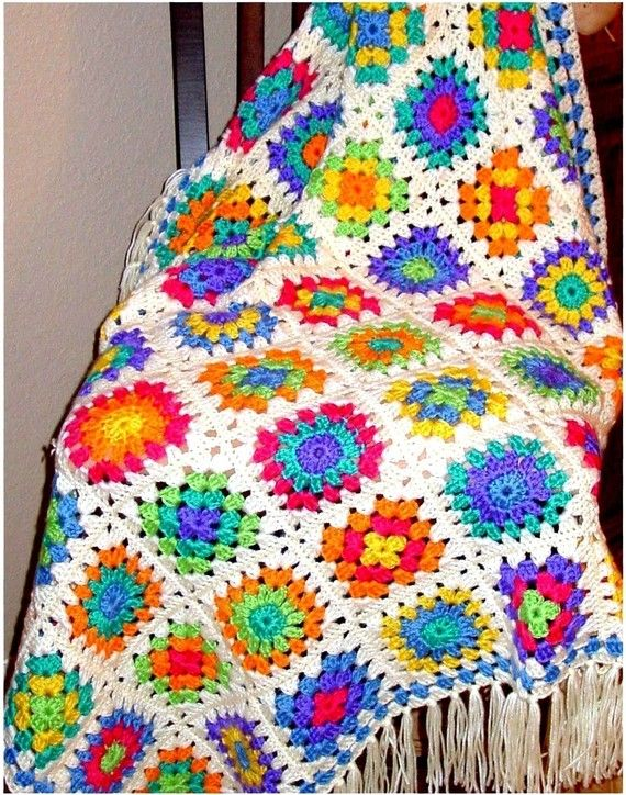 Crochet Pattern Retro Granny Afghan Instant Download PDF Crochet ...