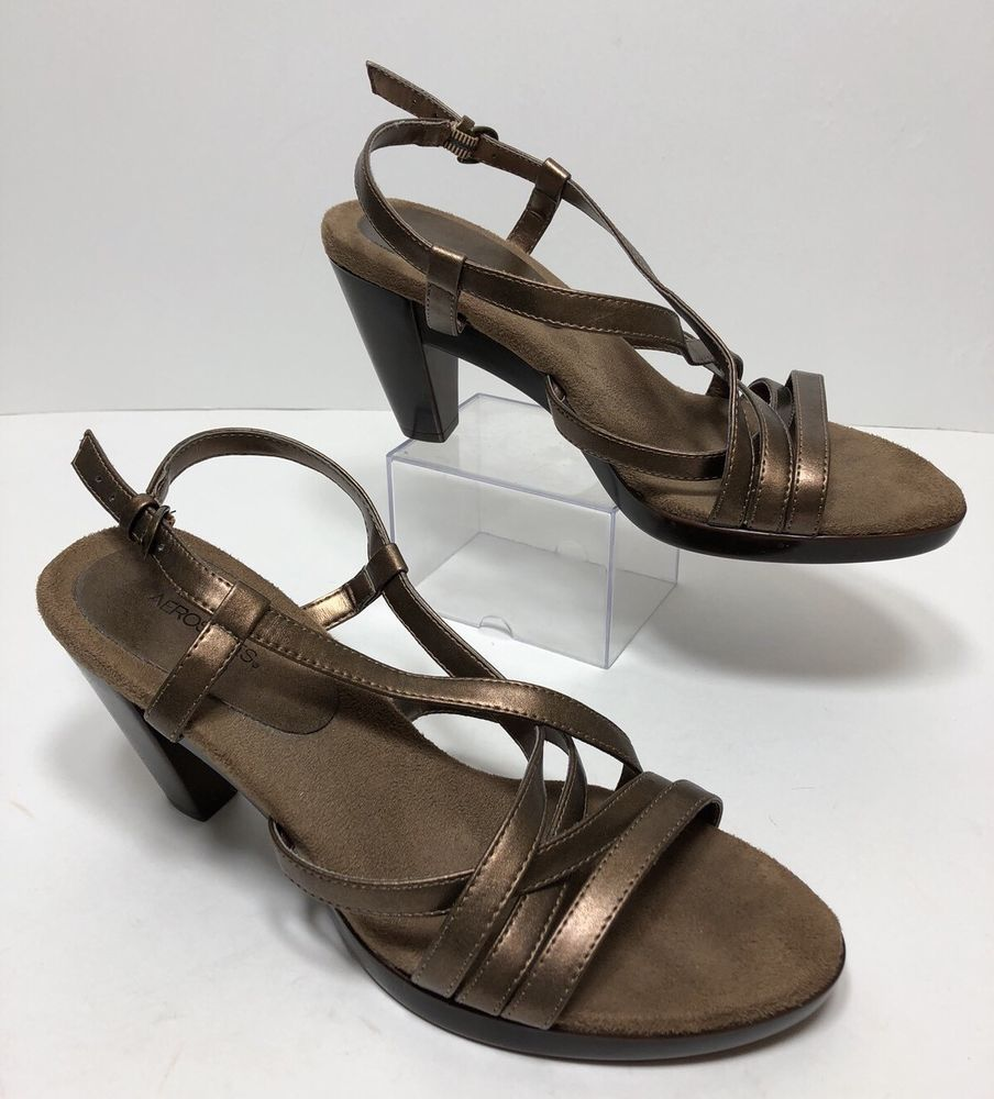 02b95f58a171 Aerosoles Ventura Sandals Women s Sz 8.5 M Bronze Strappy Slingback High  Heels