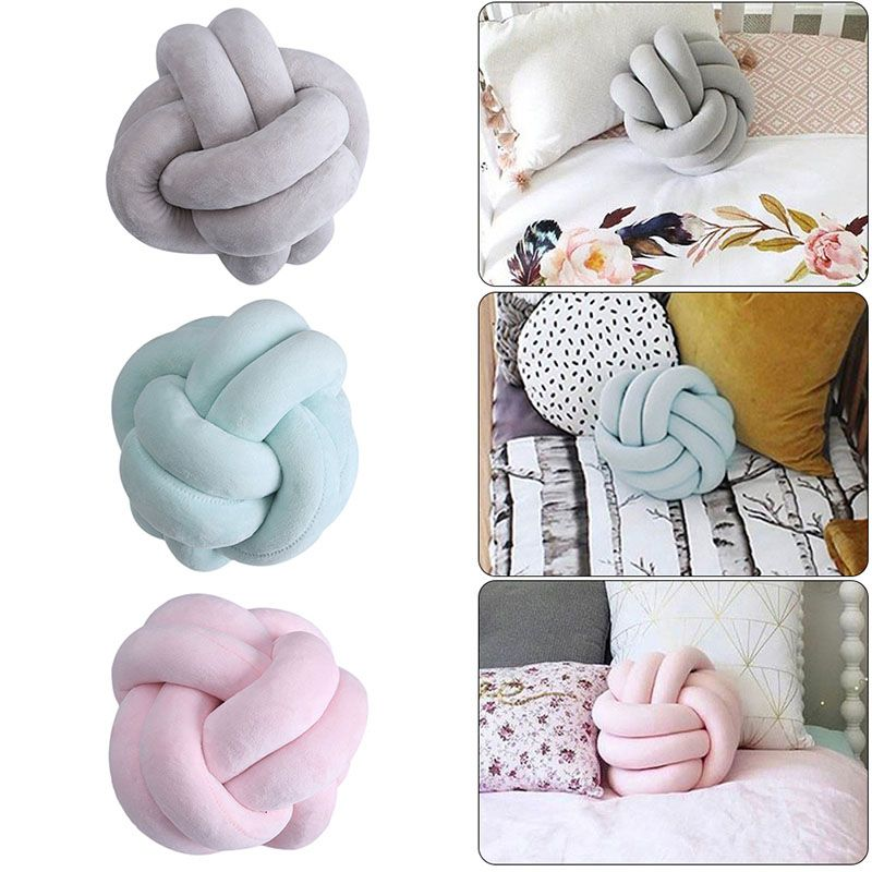 New Cotton Tube-knotted Throw Pillow Handmade Artwork Crib Decoration Baby Pillow Home Accessories Knot Pillow Throw Cushion