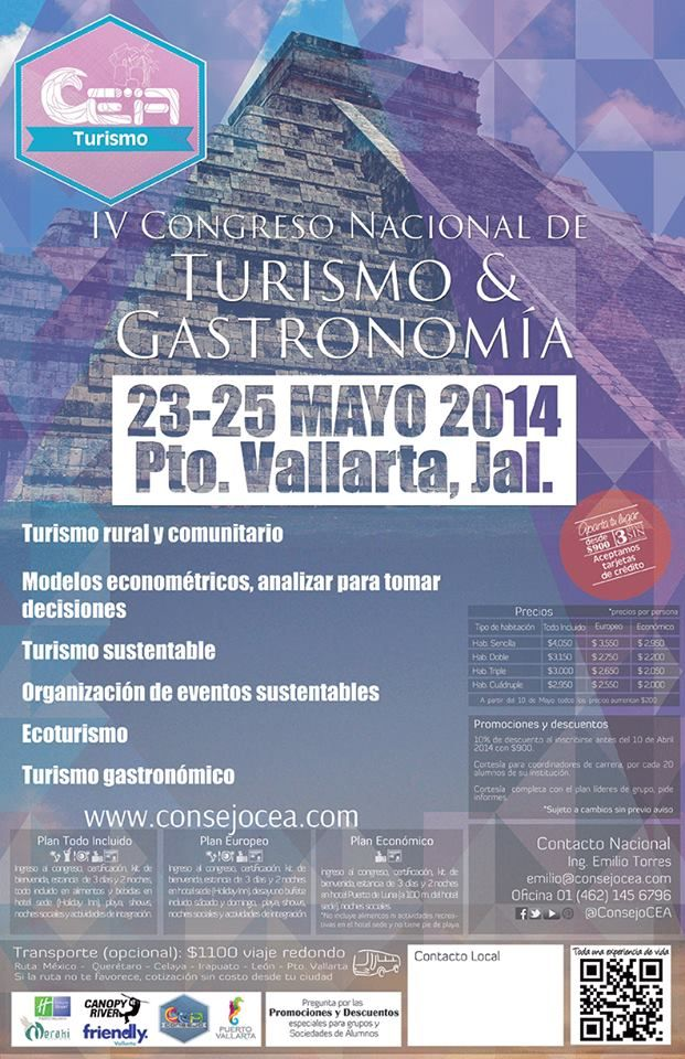 No te pierdas nuestro Congreso Nacional #TurismoCEA2014 Mayo 2014 Puerto Vallarta www.consejocea.com