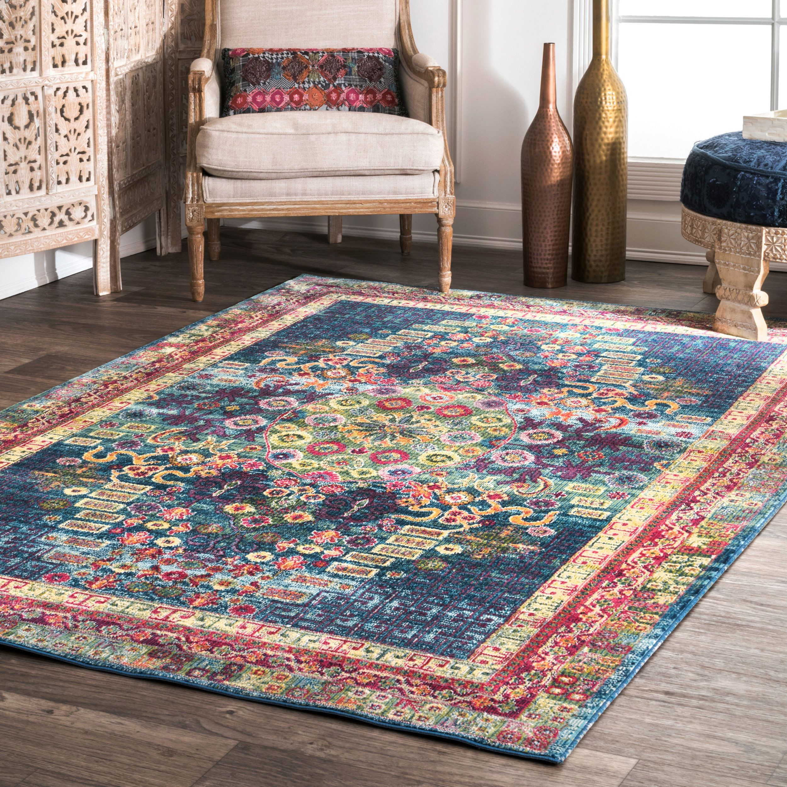 Nuloom Blue Traditional Vibrant Abstract Floral Tiles Area Rug With Images Vintage Area Rugs Area Rugs Traditional Area Rugs
