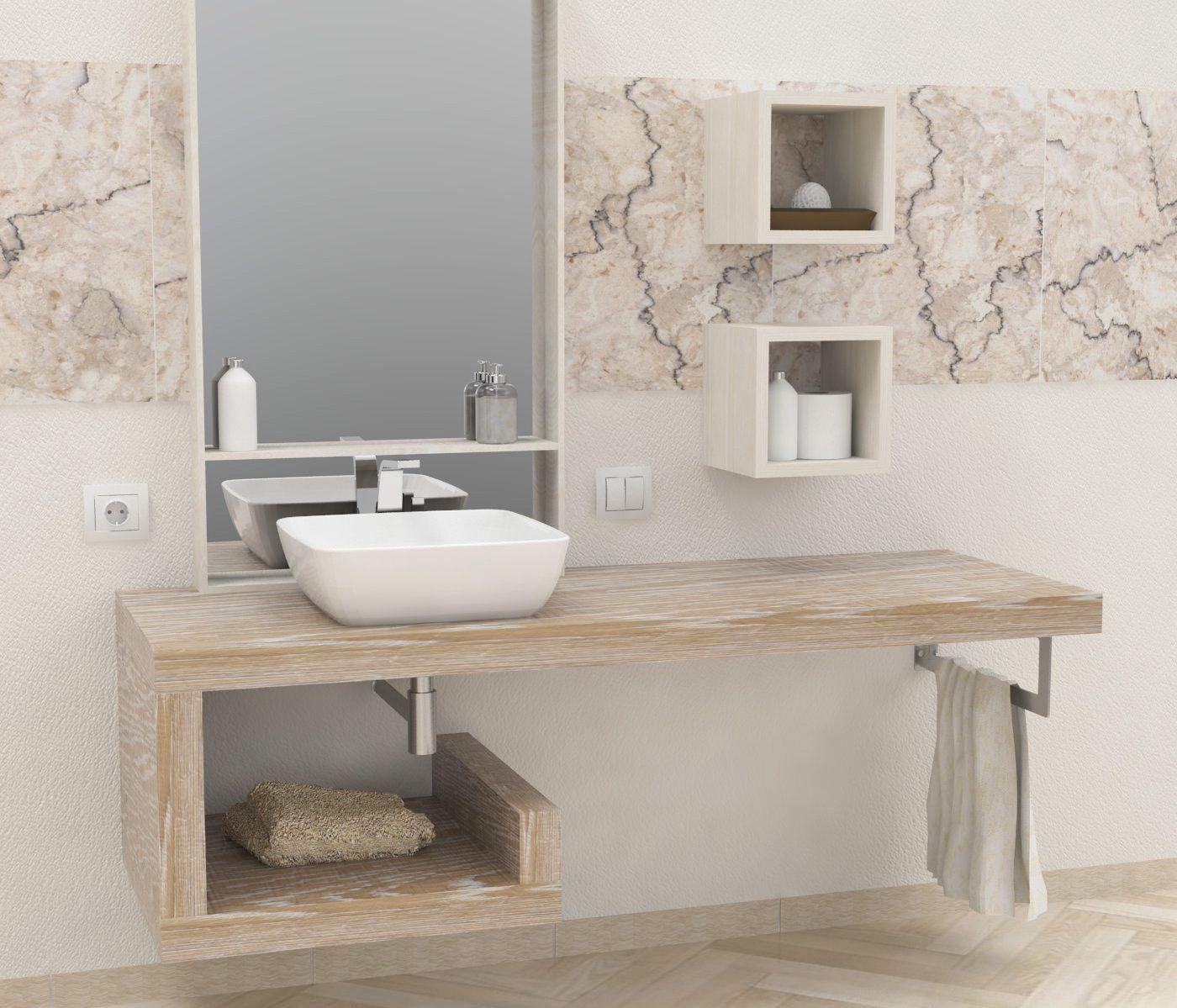 Mensole per bagno mensole lavabo in legno massello su misura profondit da 40 a 60 cm - Vernice per bagno ...