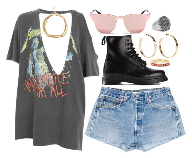 """""""I'm back!!!!!"""" by liberhty ❤ liked on Polyvore featuring Topshop, Dr. Martens, Ray-Ban, Frasier Sterling, Jennifer Fisher, Givenchy and Foundrae"""