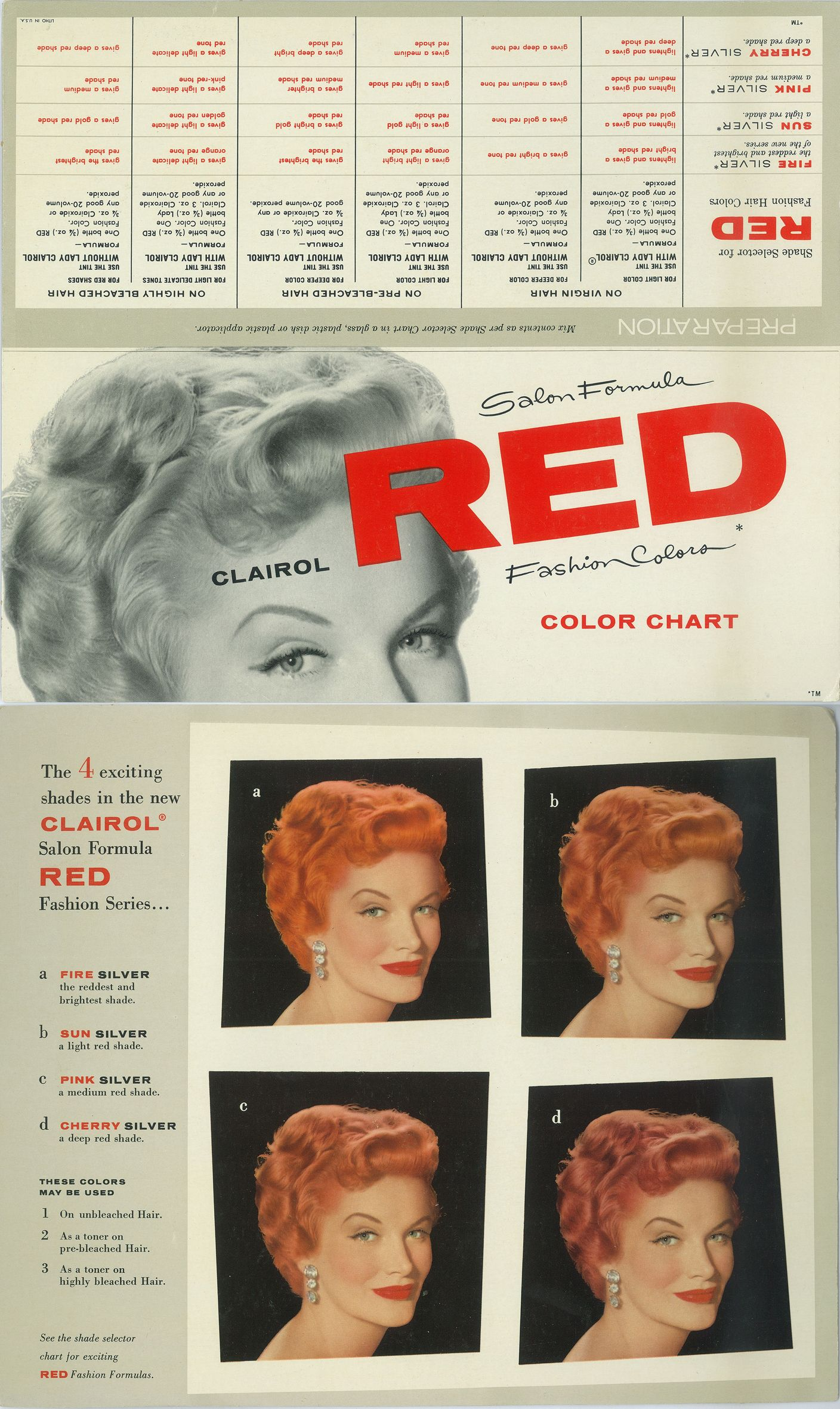 Vintage Clairol Red Hair Color Chart Hair Color Chart Red Hair Color Chart Red Hair Color