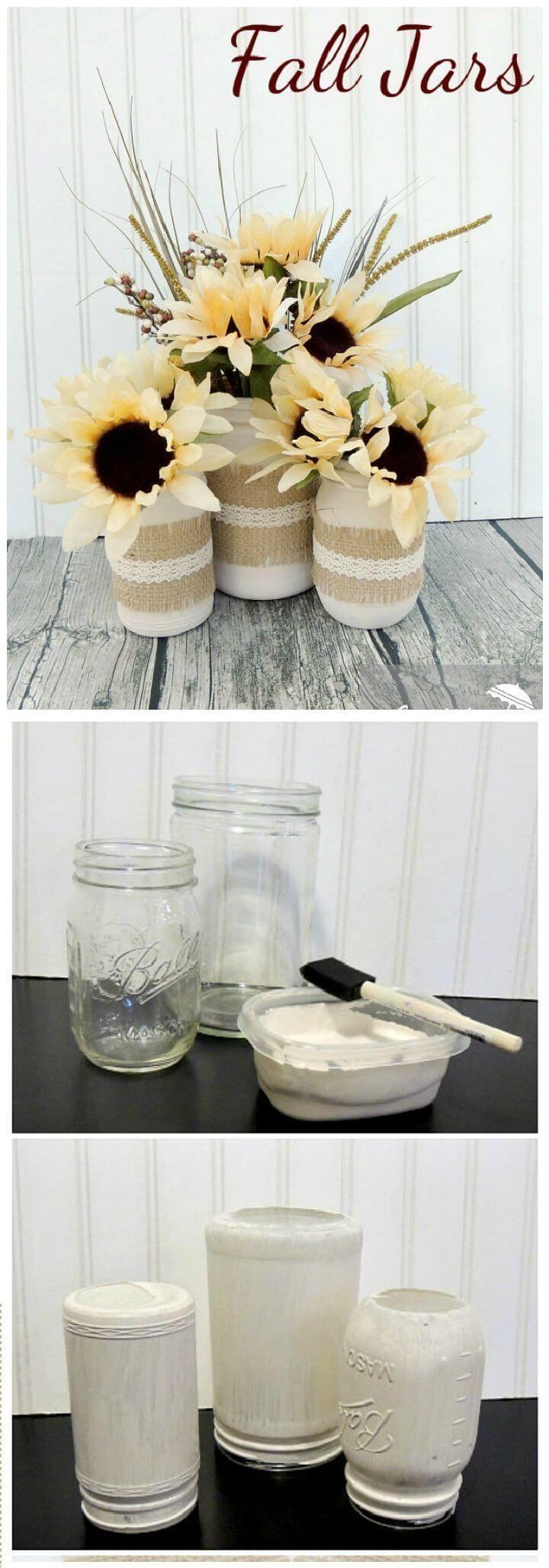 Painted White Mason Jars with Burlap -   24 mason jar burlap ideas