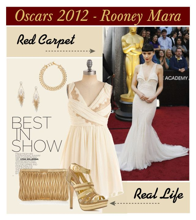 """""""Rooney Mara - Oscars 2012"""" by pixidreams ❤ liked on Polyvore featuring Miu Miu, Jenny Packham, Two Lips and gilded grecian dress gold platform sandal gold clutch bag"""