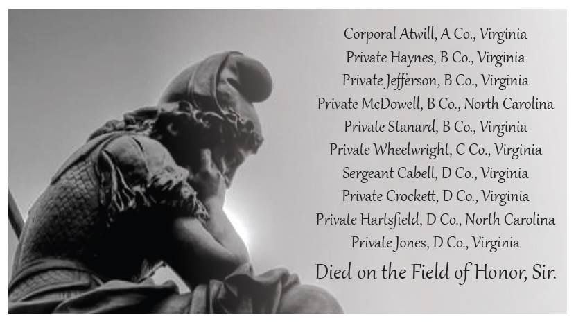 """""""Virginia Mourning Her Dead"""" with list of New Market Cadets killed in action."""