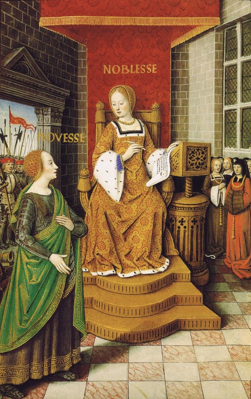 Jean Bourdichon: Allegoric Figures of Prowess and Nobility, with Warriors and Pious Women behind Them.