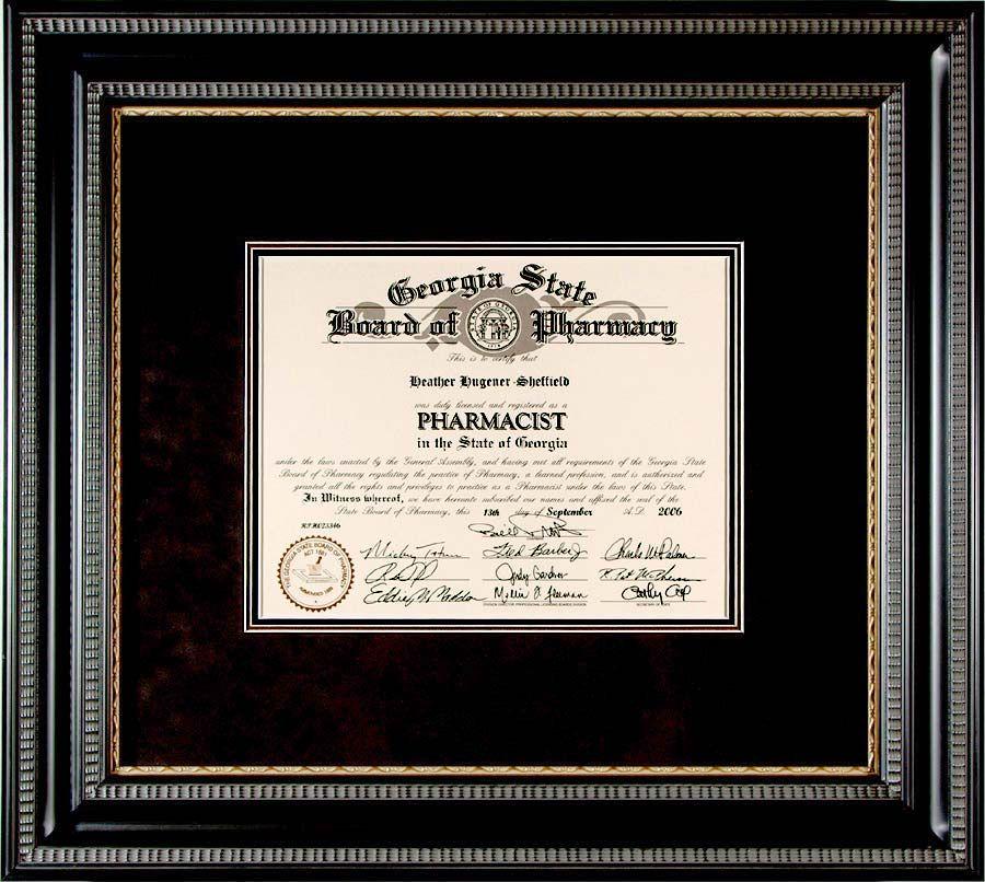 "Simple Classic Look 3//4/"" Flat Black Wood Diploma Frame w//2 Mats"