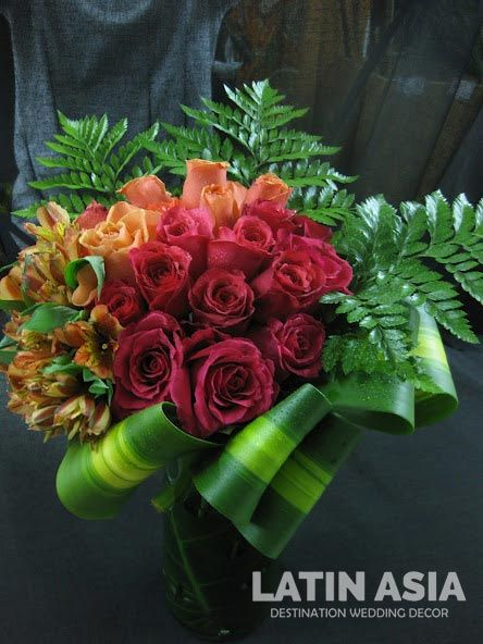 red roses and #orange roses with #orange alstroemeria #wedding ...