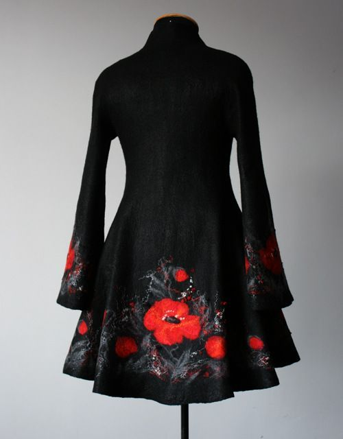 wet felted coat wit poppy border