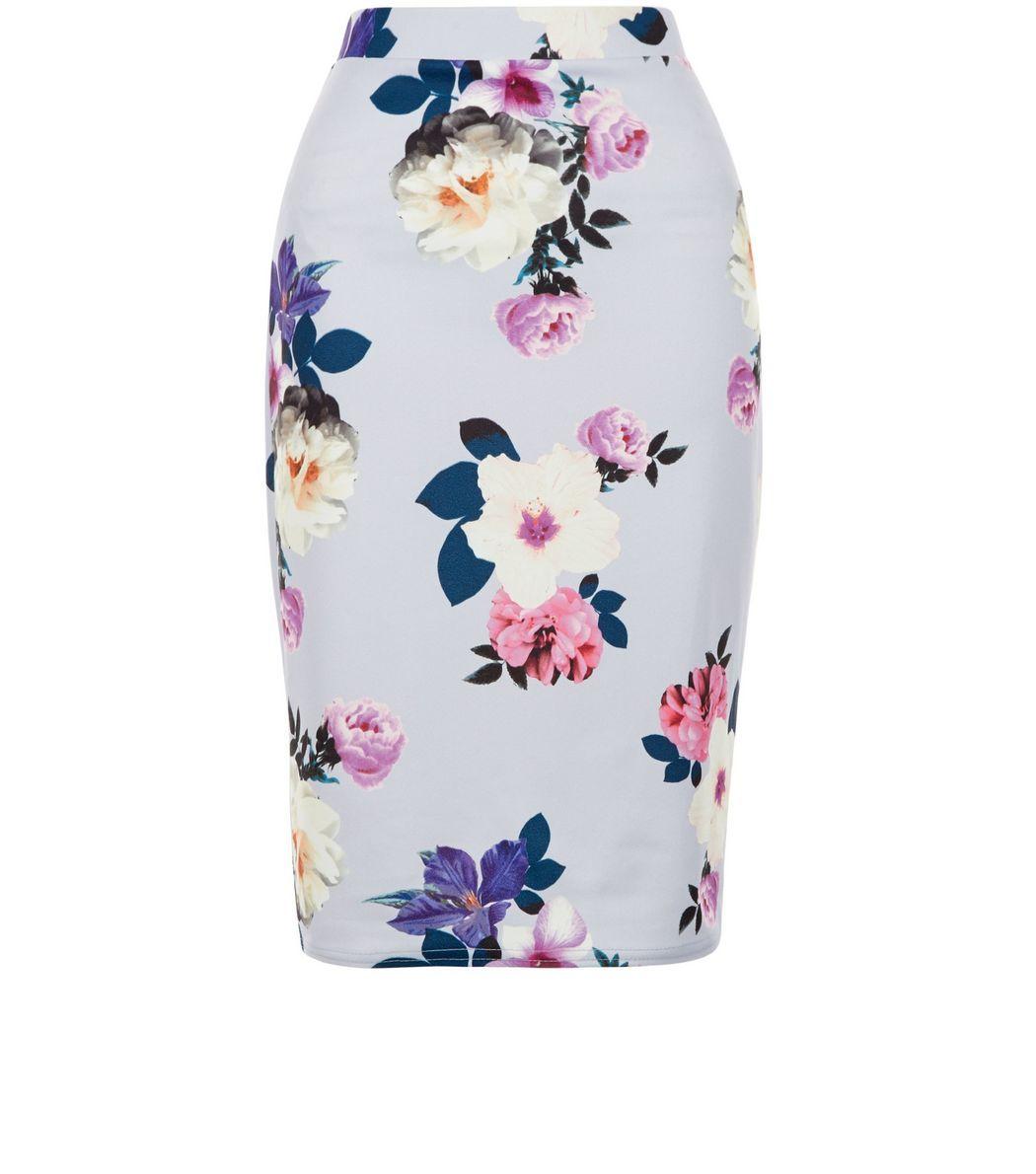 Petite Purple Floral Print Midi Skirt    New Look
