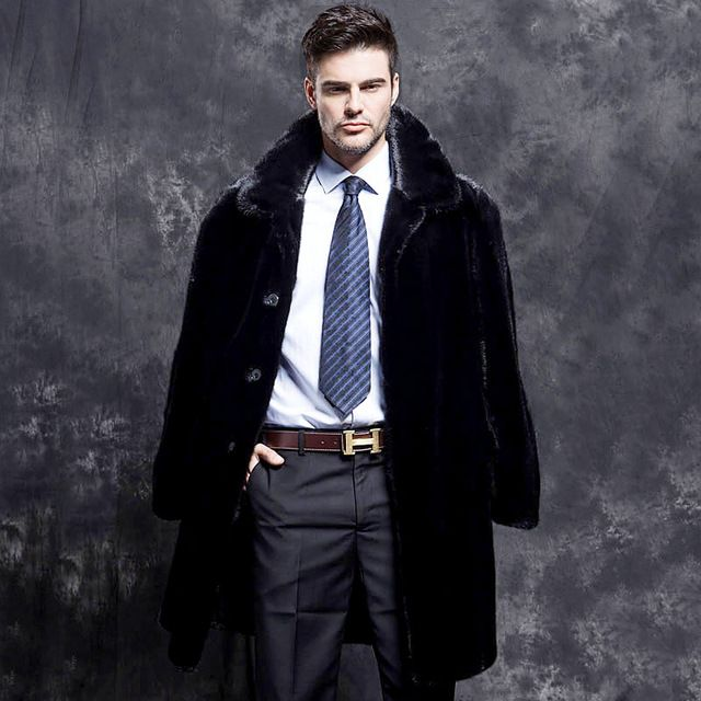 Mens Mink Fur Winter Warm Long Jacket Lapel Leather Coat Outwear Parka Fashion