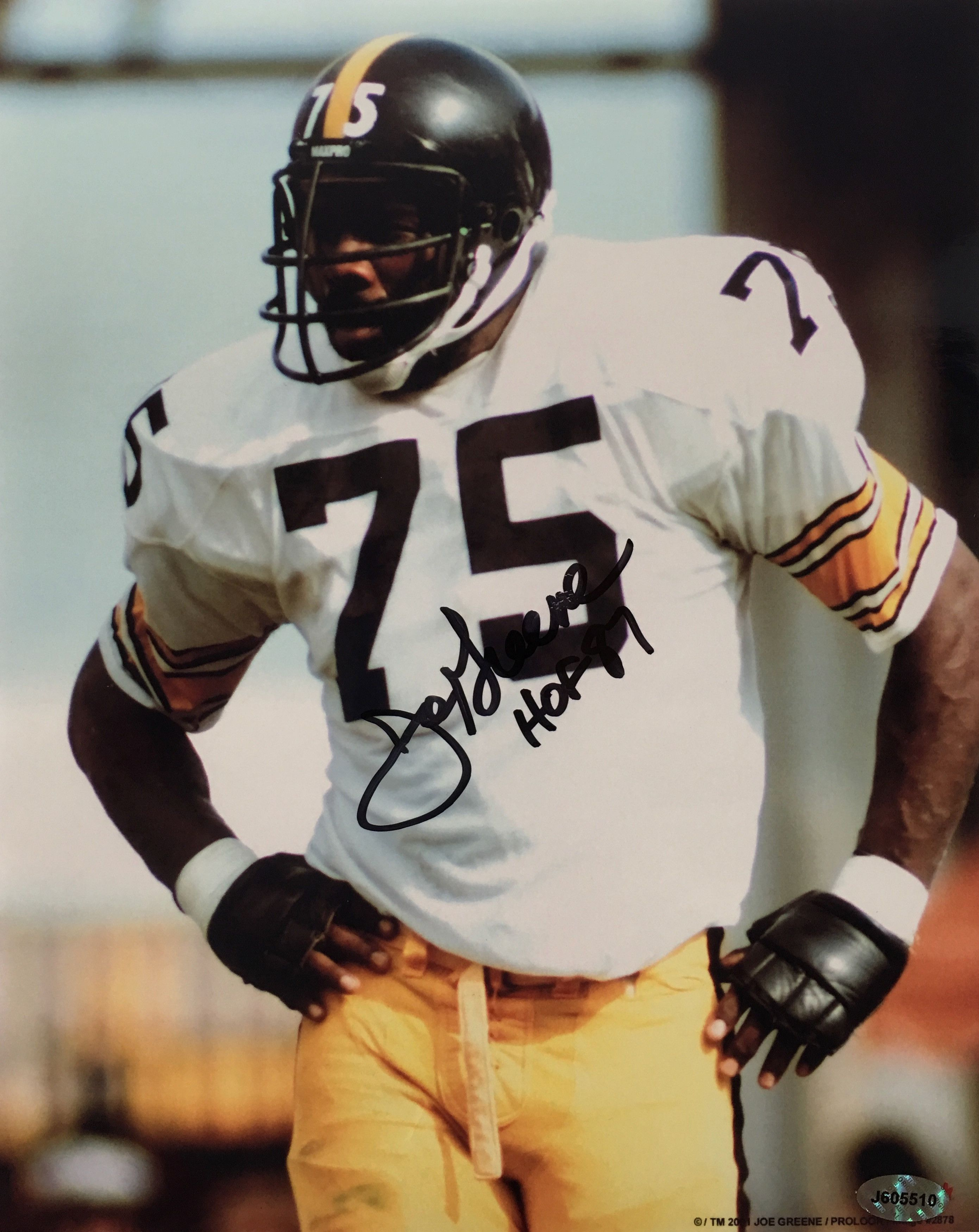 c829b49c452 Beautifully hand-signed 8x10 photo featuring the autograph of the  Pittsburgh Steelers legendary Mean Joe Greene. Joe s autograph is perfectly  written and ...