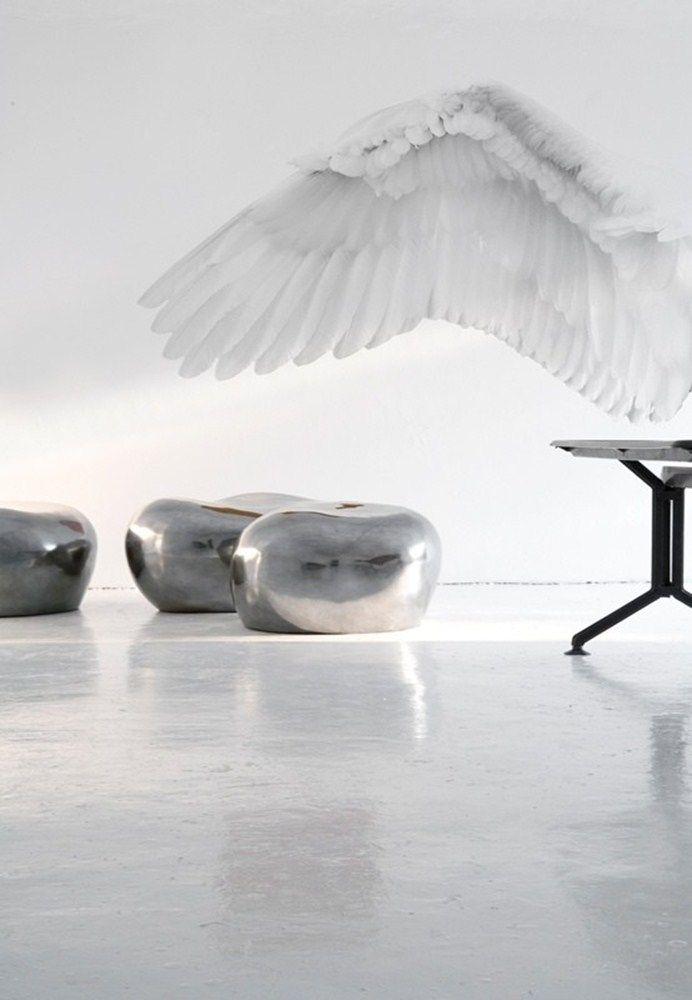 Wall&Decò #wallpaper #decoration #white #angel #wing