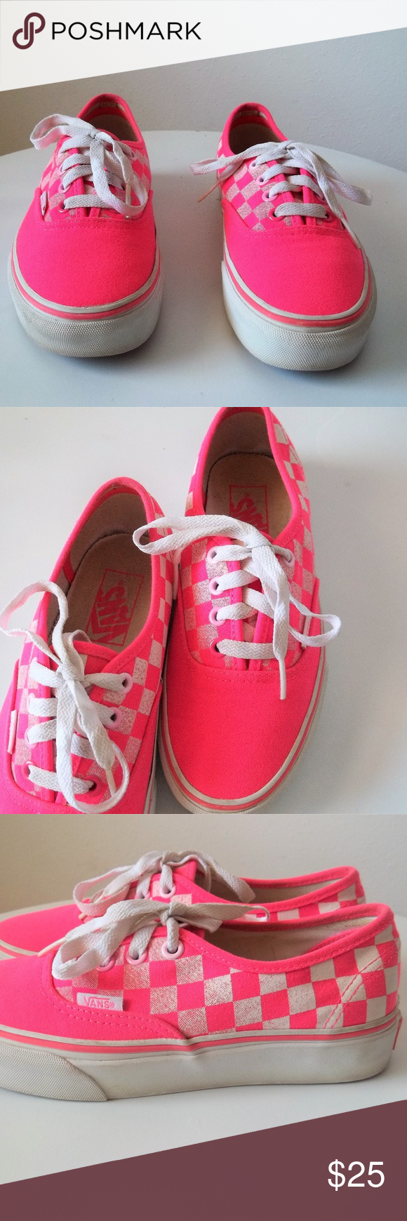 96b3c2349a VANS Off The Wall Hot Pink Checkered Shoes VANS Off The Wall Hot Pink  Checkered Shoes. Womens