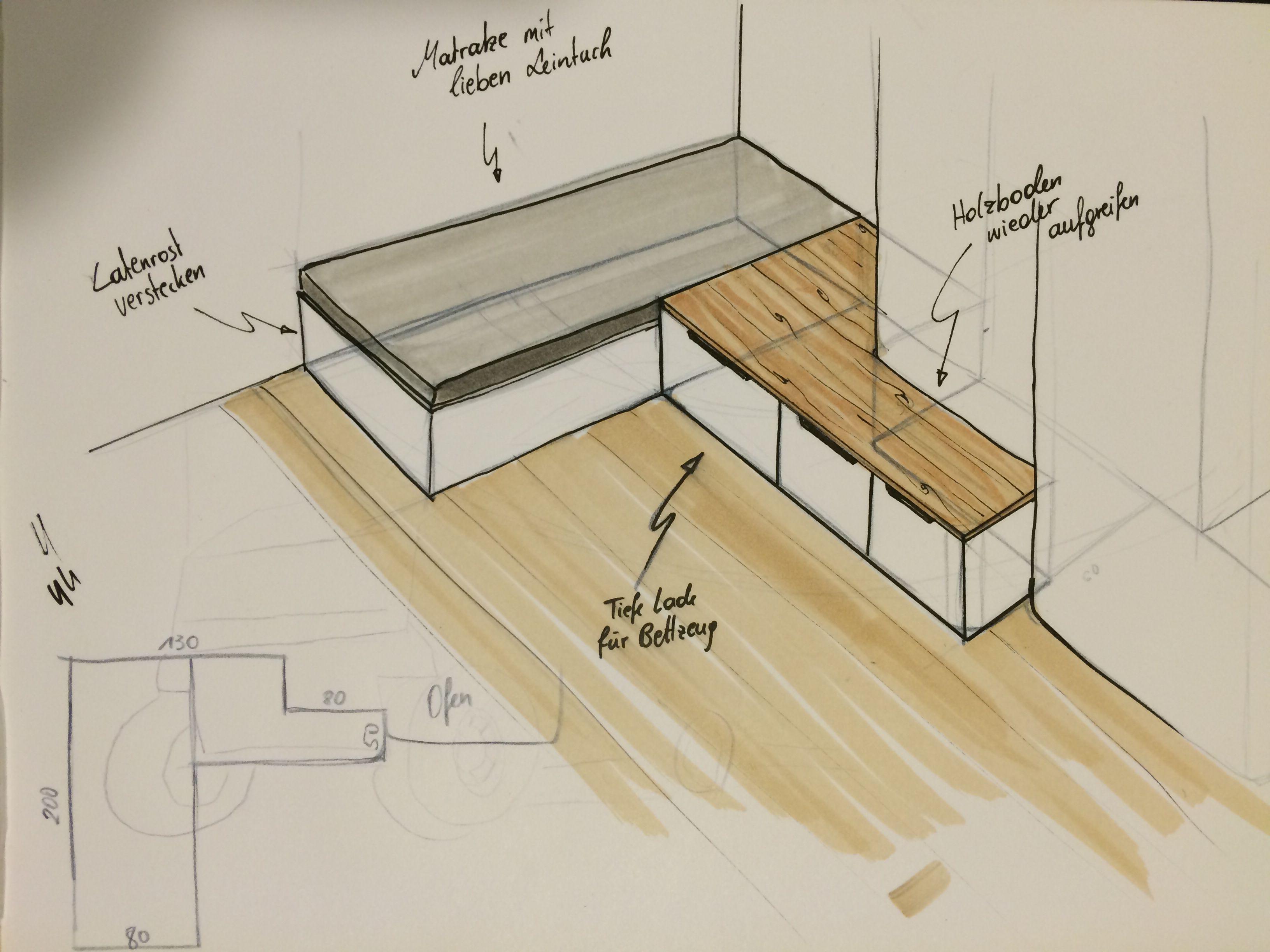 bank und bett f r kachelofen unter bank eine tiefe und zwei kleinere laden f r bettzeug z b der. Black Bedroom Furniture Sets. Home Design Ideas