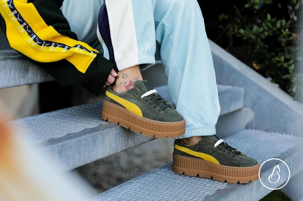 buy popular 5000d bcda7 Puma x FENTY by Rihanna Suede Cleated Creeper Rosin Lemon ...