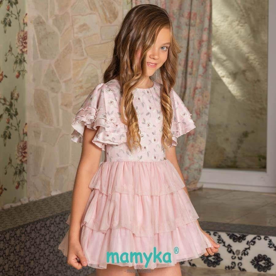 512213a40 Vestido niña en rosa pastel con falda de tul, primavera 2019   Dolce ...